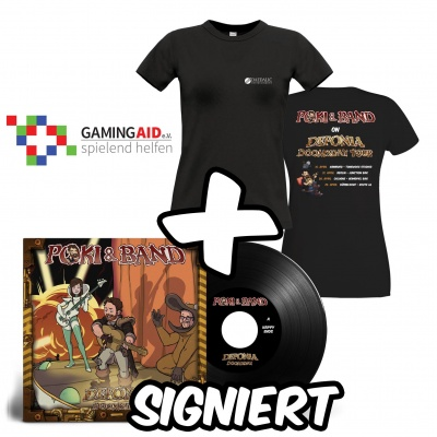 Motiv: Deponia Doomsday Tour - Poki & Band Vinyl + Lady-Shirt Set - signiert