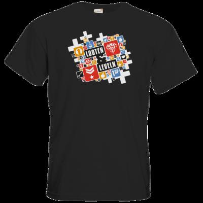 Motiv: T-Shirt Premium FAIR WEAR - Looten & Leveln - Kacheln Rot