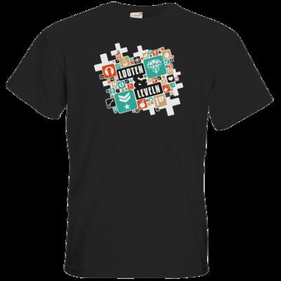 Motiv: T-Shirt Premium FAIR WEAR - Looten & Leveln - Kacheln Türkis