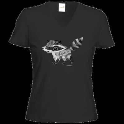 Motiv: T-Shirt Damen V-Neck Classic - Raccoonus Triangle
