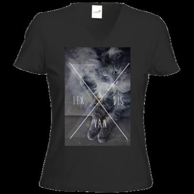 Motiv: T-Shirt Damen V-Neck Classic - Cat Content