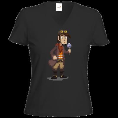 Motiv: T-Shirt Damen V-Neck Classic - Deponia - Pixelrufus