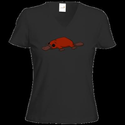 Motiv: T-Shirt Damen V-Neck Classic - Deponia - Feuerschnabeltier