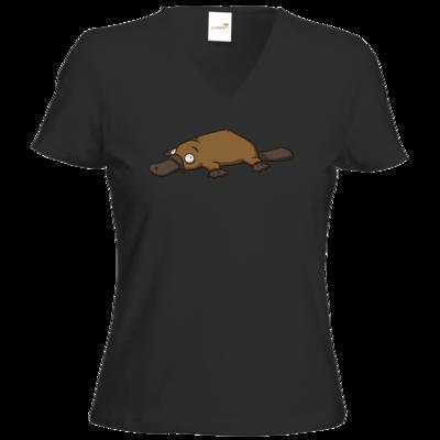 Motiv: T-Shirt Damen V-Neck Classic - Deponia - Erdschnabeltier