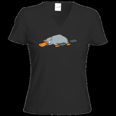 Motiv: T-Shirt Damen V-Neck Classic - Deponia - Luftschnabeltier