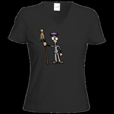 Motiv: T-Shirt Damen V-Neck Classic - Edna bricht aus - Droggelbecher