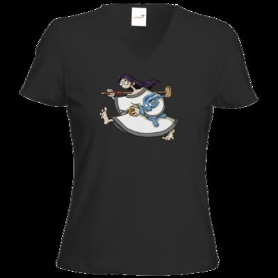 Motiv: T-Shirt Damen V-Neck Classic - Edna bricht aus - rennt weg