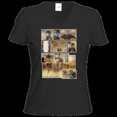 Motiv: T-Shirt Damen V-Neck Classic - A new Beginning - Comic
