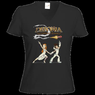 Motiv: T-Shirt Damen V-Neck Classic - Deponia - Disco Pose