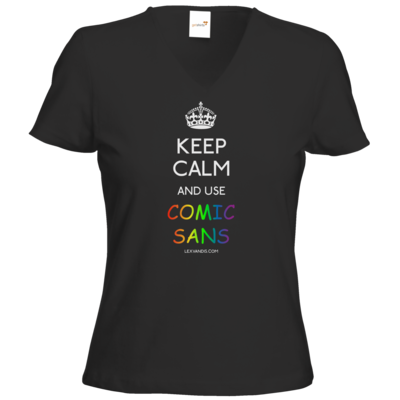Motiv: T-Shirt Damen V-Neck Classic - Keep Calm Comic Sans