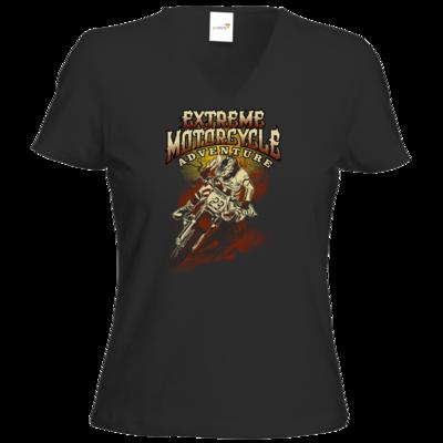 Motiv: T-Shirt Damen V-Neck Classic - Biker - Extreme Motorcycle Enduro