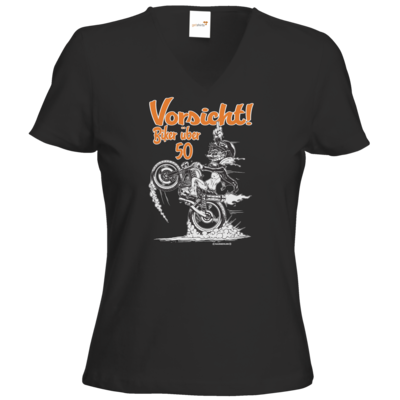 Motiv: T-Shirt Damen V-Neck Classic - Biker - ueber 50