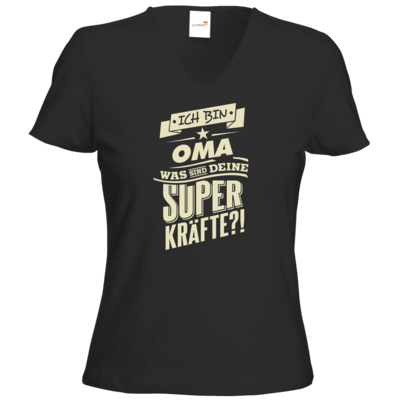 Motiv: T-Shirt Damen V-Neck Classic - Family - Superkraefte Oma