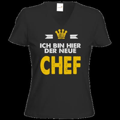 Motiv: T-Shirt Damen V-Neck Classic - Baby - Ich bin der neue Chef