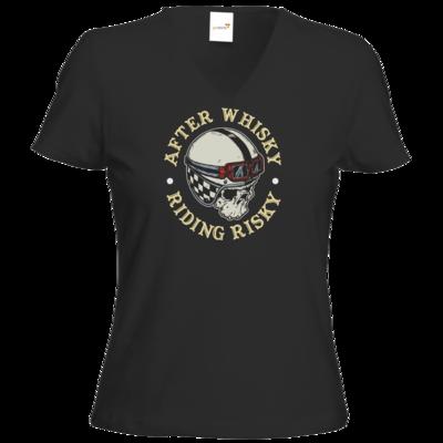 Motiv: T-Shirt Damen V-Neck Classic - Biker - after Whisky