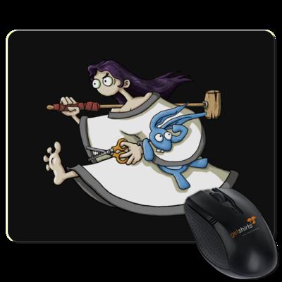 Motiv: Mousepad Textil - Edna bricht aus - rennt weg
