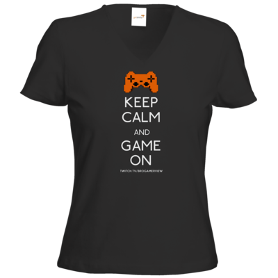 Motiv: T-Shirt Damen V-Neck Classic - Keep Calm Game On
