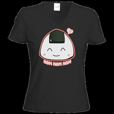 Motiv: T-Shirt Damen V-Neck Classic - NOM NOM NOM rosa