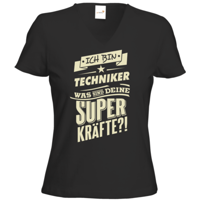 Motiv: T-Shirt Damen V-Neck Classic - Superkraefte Techniker