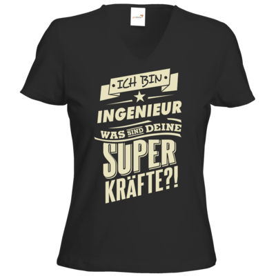 Motiv: T-Shirt Damen V-Neck Classic - Superkraefte Ingenieur