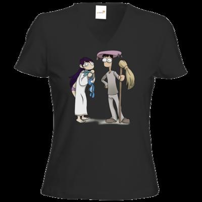 Motiv: T-Shirt Damen V-Neck Classic - Edna bricht aus - Edna und Droggelbecher