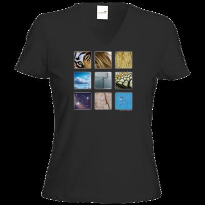 Motiv: T-Shirt Damen V-Neck Classic - Texturen Quadrate