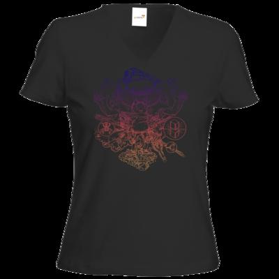 Motiv: T-Shirt Damen V-Neck Classic - T&B Cover Outline