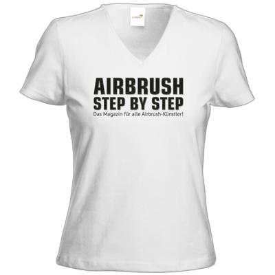 Motiv: T-Shirt Damen V-Neck Classic - Airbrush Step BY Step Slogan