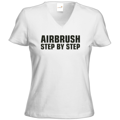 Motiv: T-Shirt Damen V-Neck Classic - Airbrush Step By Step Logo