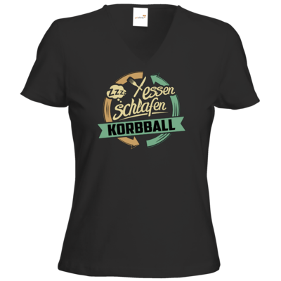 Motiv: T-Shirt Damen V-Neck Classic - Sport Korbball