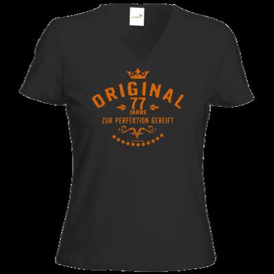 Motiv: T-Shirt Damen V-Neck Classic - Original 77 Jahre zur Perfektion gereift - Geburtstag