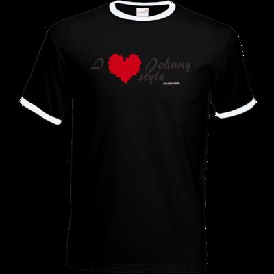 Motiv: T-Shirt Ringer - Grillshow I love Johnny style