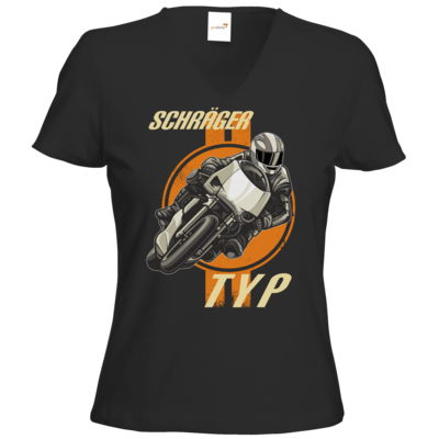 Motiv: T-Shirt Damen V-Neck Classic - Schraeger Typ Biker Motorradfahrer