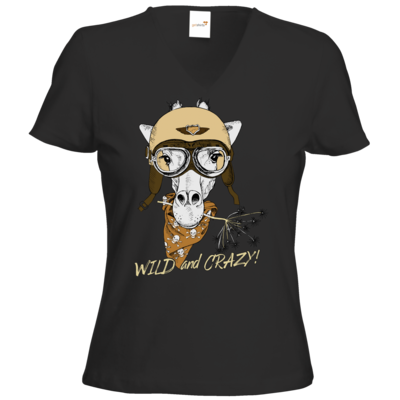 Motiv: T-Shirt Damen V-Neck Classic - Animal Design wild and crazy Giraffe