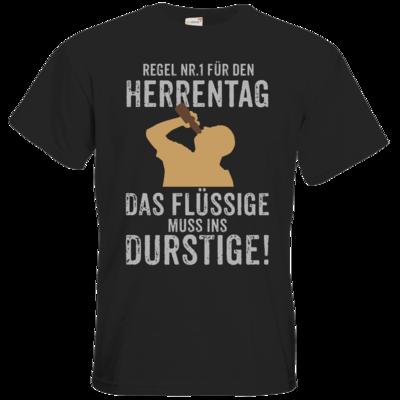 Motiv: T-Shirt Premium FAIR WEAR - Regel Nummer 1 Herrentag Das Fluessige muss ins Durstige