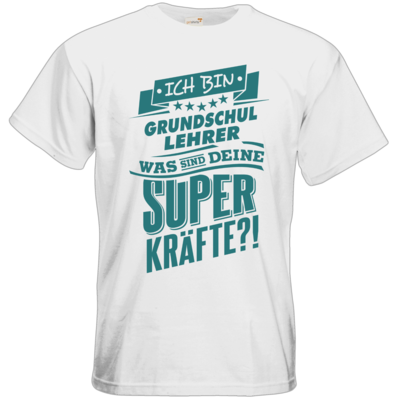 Motiv: T-Shirt Premium FAIR WEAR - Superpower Grundschul Lehrer - petrol