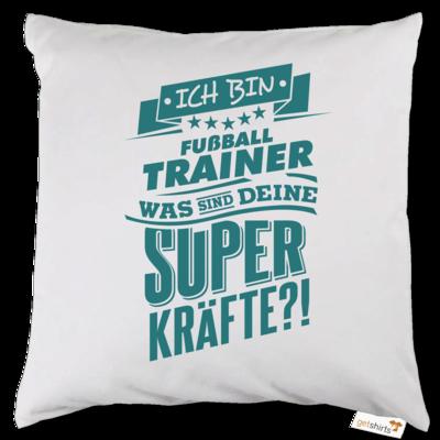 Motiv: Kissen - Superpower Fussball Trainer - petrol