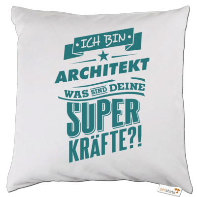 Motiv: Kissen - Superpower Architekt - petrol