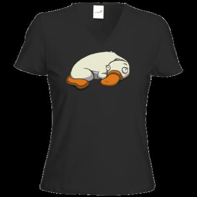 Motiv: T-Shirt Damen V-Neck Classic - Deponia Albinotypus