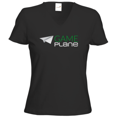 Motiv: T-Shirt Damen V-Neck Classic - Gameplane Logo gruenweiss