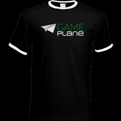 Motiv: T-Shirt Ringer - Gameplane Logo gruenweiss