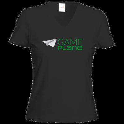 Motiv: T-Shirt Damen V-Neck Classic - Gameplane Logo gruen