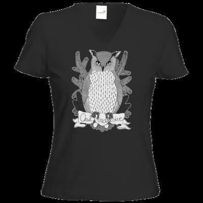 Motiv: T-Shirt Damen V-Neck Classic - Owl Inclusive
