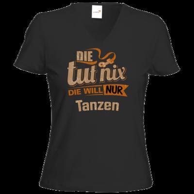 Motiv: T-Shirt Damen V-Neck Classic - Die tut nix - Die will nur Tanzen