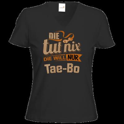 Motiv: T-Shirt Damen V-Neck Classic - Die tut nix - Die will nur Tae Bo
