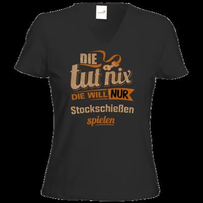 Motiv: T-Shirt Damen V-Neck Classic - Die tut nix - Die will nur Stockschiessen