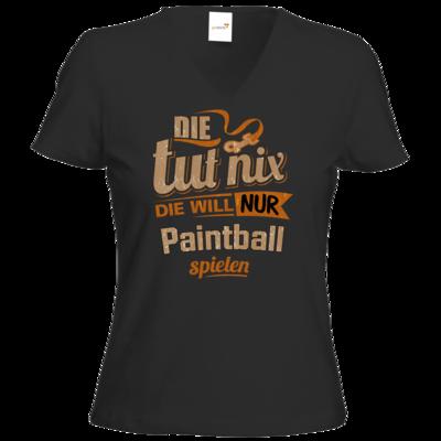 Motiv: T-Shirt Damen V-Neck Classic - Die tut nix - Die will nur Paintball