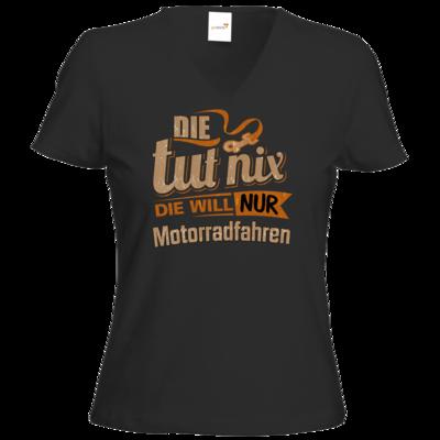 Motiv: T-Shirt Damen V-Neck Classic - Die tut nix - Die will nur Motorradfahren