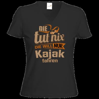 Motiv: T-Shirt Damen V-Neck Classic - Die tut nix - Die will nur Kajak
