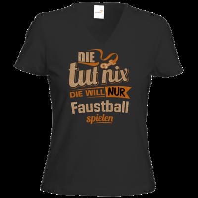 Motiv: T-Shirt Damen V-Neck Classic - Die tut nix - Die will nur Faustball
